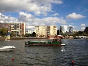 Barge and sailboats