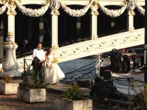 Barge and wedding couple